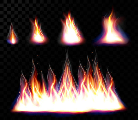 Collection of  big flame and small realistic fire. Elements set for design, small and large fire bright elements. Flame with different shapes isolated and colored. Vector illustration