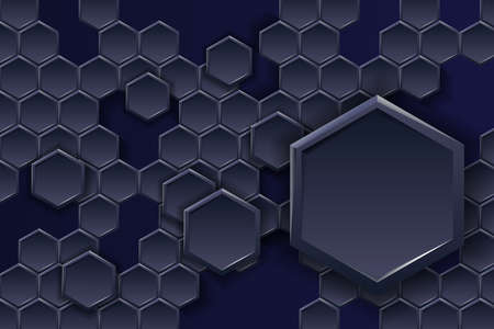 Futuristic hexagonal on dark blue background. Perfect for banner, web, headline, cover, billboard, brochure. Vector illustration