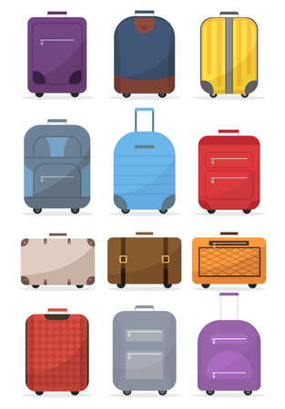 Bid collection bag and suitcase. Plastic, metal suitcases, backpacks, luggage bags. Color bags sign icon case for vacation, tourism. Vector illustration