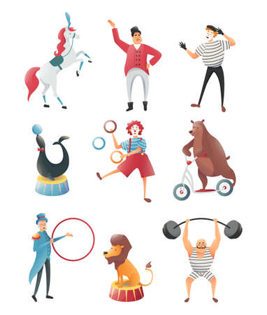 Set of acrobats with animals in the circus. Magic and gymnastic tricks. Image of animals, lion, bear and elephant with circus magician. Vector illustration