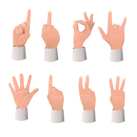 Set of hand gesture cartoon. Various gestures: pointing, attention, fist, thumb up, etc...Hand gestures flat icons set. Vector illustration