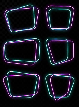 Empty glowing neon frames banner. Neon geometric shapes. Rounded rectangle frames with glowing effects on dark background. Vector illustration