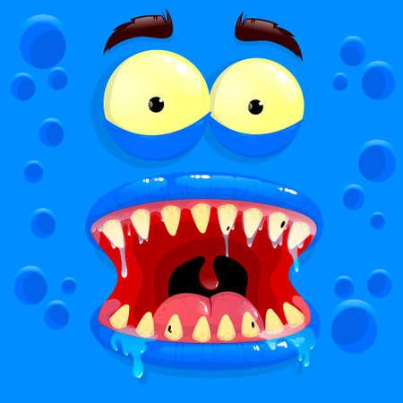 Vector blue monster avatar with afraid face. Cartoon face of a monster. Vector illustration