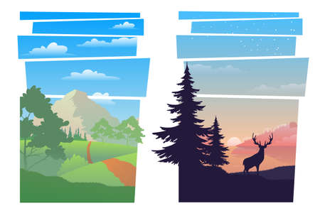 Beautiful abstract landscapes set. Modern beautiful landscape with gradients. Beautiful mountain landscape at different times of the day. Illustrations of beautiful mountain landscape. Vector illustration