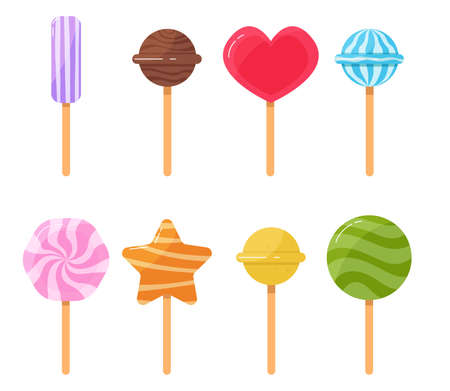 Cartoon set of isolated sweets lollipop sweet, candies. Sweets on stick icon on white background. Sweets and candies conception. Vector illustration
