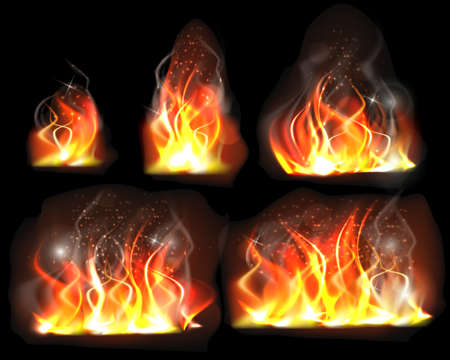 Realistic burning flame set. Fire flame vector set isolated on transparent background. Burning fire flame effect. Fire flames of different sizes with sparks. Vector illustration