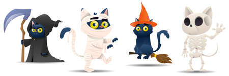 Cartoon halloween cats set. Cats are dressed in a witch, pumpkin, ghost, zombie, skeleton, death costume. Halloween outfit collection. Vector illustration