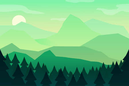 Mountain landscape green wallpaper with mountain. Morning landscape, sunrise in the mountains, panoramic view with hill and forest. Vector illustration