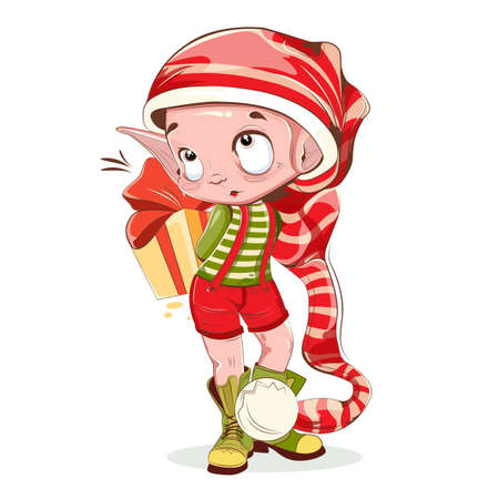 Christmas elf. Merry christmas colorful card design with funny elf. Little elf with present behind back on white background isolated christmas character. Vector illustration
