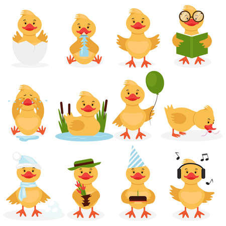 Funny duckling set. Cute little yellow duck chick characters set. Bird duckling, funny and happy chick character on a white background practicing different activities. Vector illustration