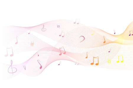 Shiny abstract waves with musical notes. Music colorful musical note theme - rainbow swirl wave line. Music theme - rainbow notes on a light background. Vector illustration