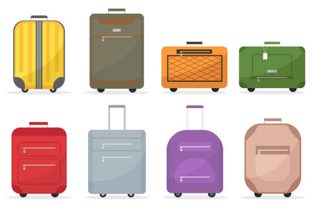 Cartoon baggage suitcase set for travel. Plastic, metal suitcases, backpacks, luggage bags. Color bags sign icon case for vacation, tourism. Vector illustration