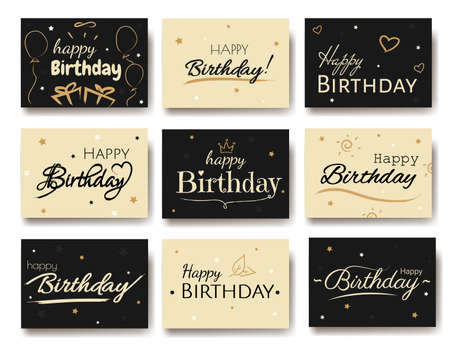 Happy birthday cards set. Happy birthday typographic design for greeting card, poster or banner. Lettering hand lettering, brush ink calligraphy with happy birthday. Vector illustartion Ilustração