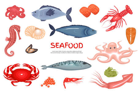 Seafood icons set. Fish products, seafood menu flat icons big set. Vector set of icons of mussels, shrimp, squid, octopus, lobster, crabs, oysters, tuna, caviar. Vector illustration Ilustração