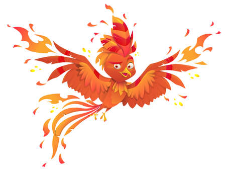 Phoenix or fenix fire bird on white background. Burning fiery bird isolated  mascot  design. Fairytale animal, symbol of immortality and reborn from ashes. Vector illustration Иллюстрация