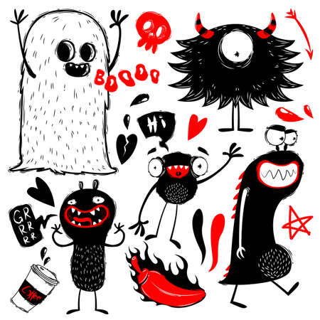Doodle cute monsters on white background. Monsters and ghosts characters doodles, hand draw style.Collection of monsters silhouettes. Vectro illustration
