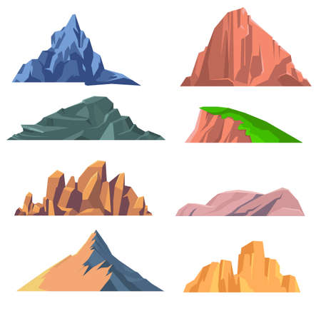 Set of mountains rocks flat icon. Set of isolated snowy mountains, mountain peak, hill top, iceberg, nature landscape. Different mountains isolated on white background. Vector illustration