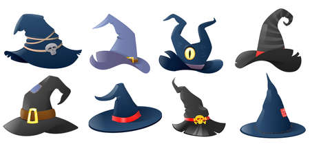 Cartoon witch hats set. Hats your halloween design, colorful icons collection. Festive carnival headwear. Vector illustration
