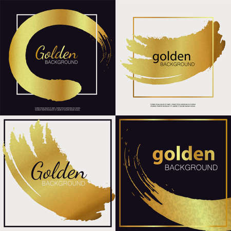 Set of gold brush, line or texture. Golden background and grunge on black background in a frame. Gold brush, line or texture. Vector illustration