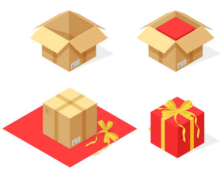 Isometric open and closed cardboard boxe packing parcel as a gift. Isometric cardboard box. Realistic collection of real delivery package. Transport shipping container. Vector illustration