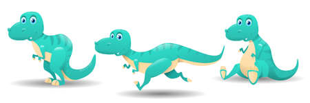 Cute cartoon baby dinosaur. Dinosaurs and different poses. Set of cute dinosaurs characters. Cute baby dinosaurs cartoon collection. Vector illustration