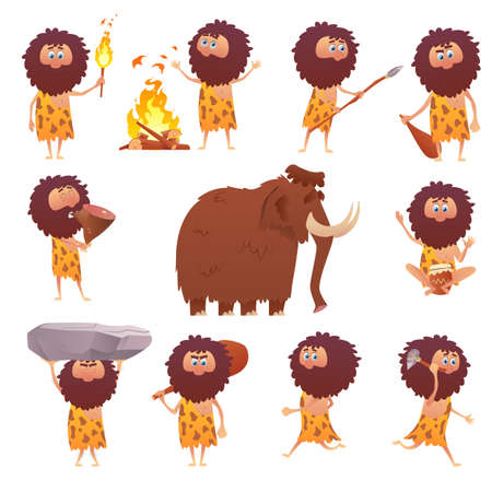 Cartoon stone age and primitive people character. Icons of stone age. Cavemen hunting, , stone tools isolated on white background. Vector illustration