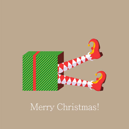 Merry Christmas, elf legs. Shoes for elves feet, feet of gnomes-assistants of Santa Claus in a set of pants. Shoes, funny striped socks and boots. Vector illustration 向量圖像