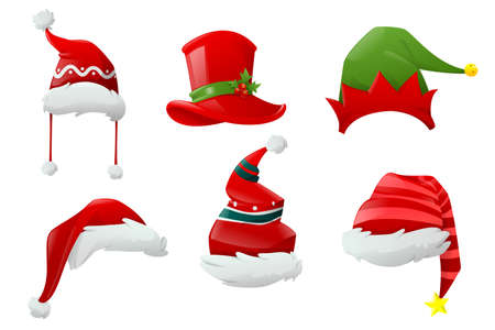 Set of Santa hats and Christmas hat . Hats of different Christmas characters. Big set of realistic Santa hats isolated on white background. Cartoon new year face masks. Vector illustration