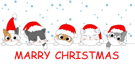 Merry Christmas banner with cute kittens. Collection of Christmas cats, Merry Christmas. Kitten holidays cartoon character. Doodle style. Vector illustration Ilustracja