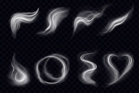 Steam smoke with swirl shape ring realistic set dark transparent background. Smoke steam, waves from coffee, tea, cigarettes, hot food or drinks isolated. Vector illustration