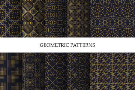 Set of luxury dark geometric pattern and decorative wallpaper. Set of luxury seamless art patterns with geometric rich designs. Collection of geometric patterns in oriental style. Vector illustration 矢量图像