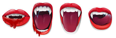Scary mouth with bloody saliva on white background. Red lips with long pointed canine teeth and bloody saliva express different emotions. Vector illustration
