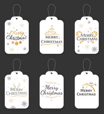 Christmas and New Year gift tags. Seasonal sale badges design. Trendy and simple set of christmas cards. Christmas gift tags with handwritten calligraphy. Vector illustration 向量圖像