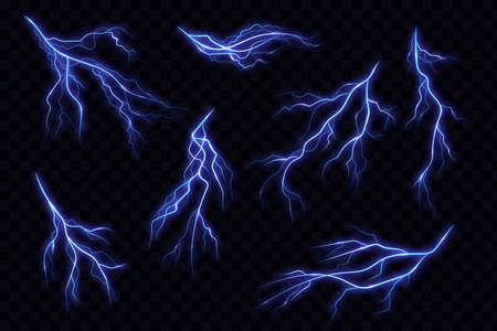 Electric lightning bolt. Energy effect. Magical and bright lighting effects. Flaming lightning strike in the dark. Electrical discharge, blue and yellow bursts of energy explosion. Vector illustration