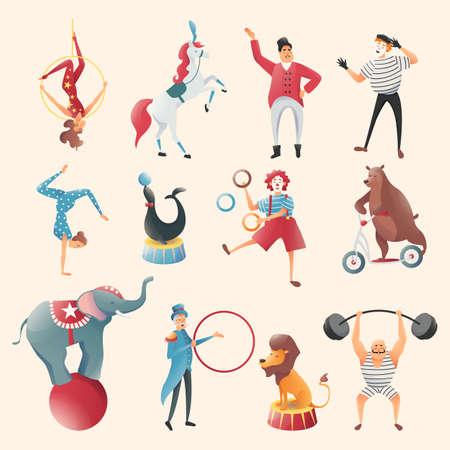 Acrobatic animal tricks set, Circus animals, circus performances of family acrobats. Magic and gymnastic tricks. Representation of animals, lion, bear and elephant with circus magician. Vector illustration