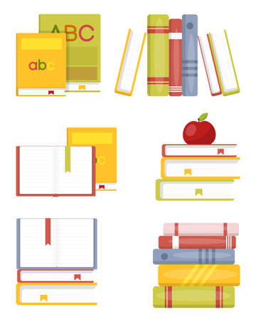 Open and close books in different stack. Book icons set in isometric 3d style for design. Books in a stack, open, in a group, closed, on a shelf. Cartoon colorful books design elements. Vector illustration 向量圖像