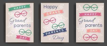 Set of greeting cards of Happy National Grandparents Day. Soulful family concept. Greeting cards for celebrate happy grandparents day. Happy family, grandfather and grandmother. Vector illustration 矢量图像