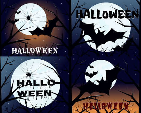Halloween set of cards with a bat and a spider on a background of the moon. The black bat flies at night and the spider hangs on the web. Vector illustration