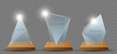 Clear glass trophy reward set. Realistic isolated vector glass signs. Competition and sports winners prizes. Championship to win the glass prize. Vector illustration