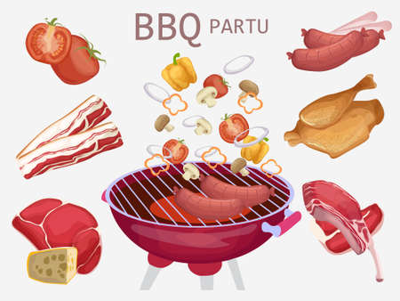 Set of barbecue elements. Grilled grilling products. Spicy chicken, ham, beef, ribs, steak, tomatoes Grilled meats and vegetables for parties. BBQ party. Vector illustration