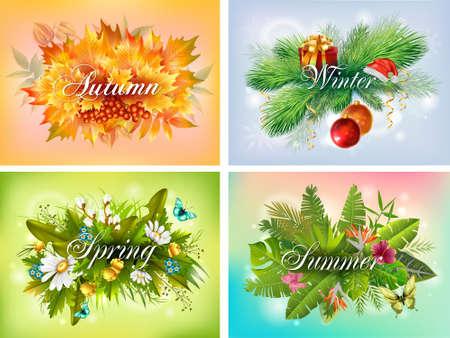 Four seasons typographic banner set Imagens