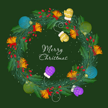 Flat design christmas wreath concept. Christmas wreath made of pine branches decorated with Christmas toys. Festive background for design of holiday flyers and banners. Vector illustration Illusztráció