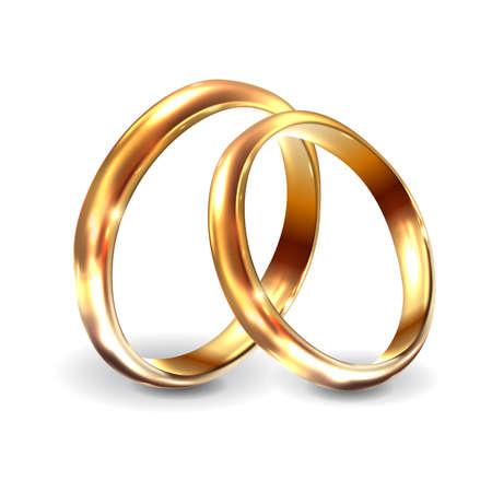 Gold wedding rings 3d realistic engagement illustration. Wedding rings for engagement on white background. Vector illustration Vettoriali