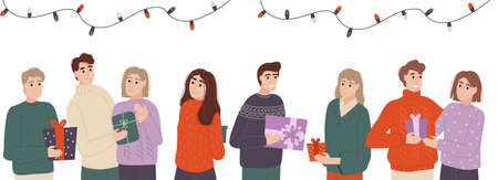 People exchange gift boxes. Different people give beautiful gifts. Surprise concept. People give each other gifts at the holiday. Vector illustration Vector Illustration
