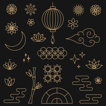 Decorative golden asian elements in oriental style with moon, stars, clouds, patterned circles, lanterns, fireworks, flowers. Set of asian design element. Vector illustration