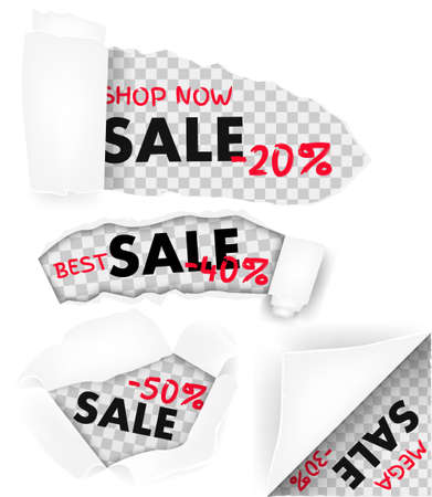 Holes in white paper with torn sides and sale text low price realistic. Torn paper template with sale. Torn a black paper background with space for text. Vector illustration