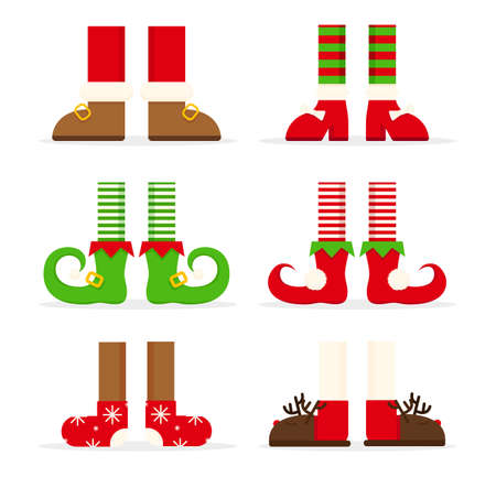 Collection of Christmas legs . Merry Christmas background or banner with set of elf legs. Elven shoes and striped stockings icons. Cute anta helpers elves feet, boots. Vector illustration