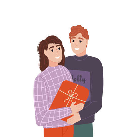 A funny couple makes a gift. People exchange gift boxes. Interesting gifts and joy. Surprise concept. At the holiday, people give gifts to each other. Vector illustration 矢量图像