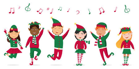 A set of carols for children. Children singing Christmas carols, illustration. Children sing, Christmas songs, music notes on a white background. Vector illustration