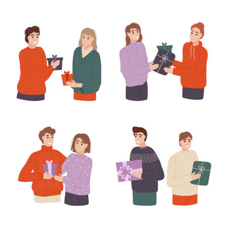 Different people give beautiful gifts. People exchange gift boxes. Surprise concept. People give each other gifts at the holiday. Vector illustration